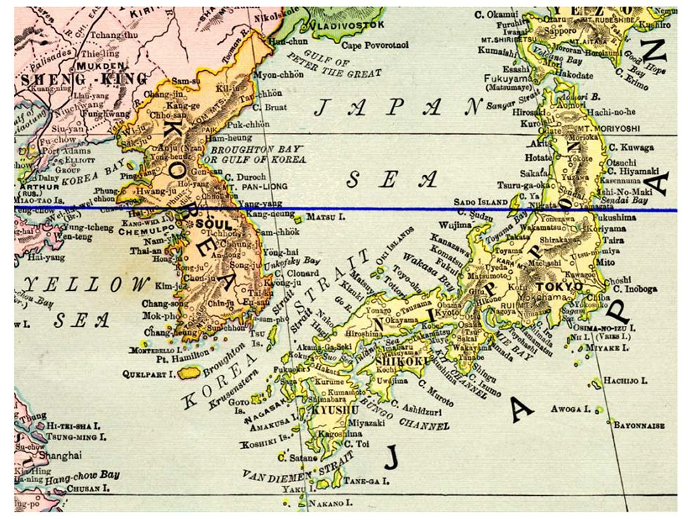 Figure 1, The Korean Peninsula with the 38th parallel shown - the situation at the end of World War II.
